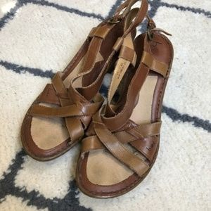 B.O.C. Brown leather heeled sandals